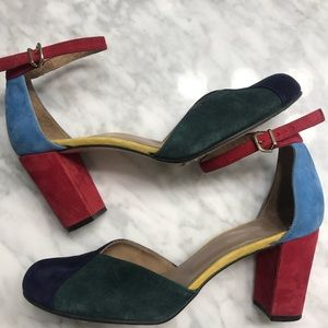 Anthropology Suede Color Block Heels